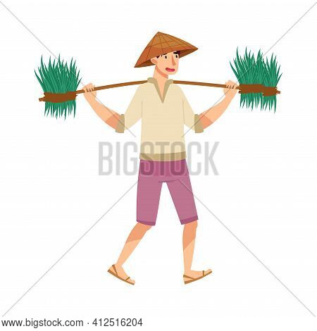 Vietnamese Man Farmer In Straw Conical Hat Carrying Bunch Of Grass Blades As Rice Crop Vector Illust