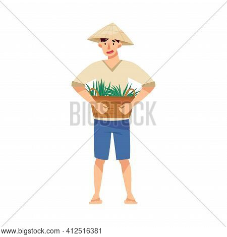 Vietnamese Man Farmer In Straw Conical Hat Holding Wicker Basket With Grass Blades As Rice Crop Vect