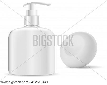 Hand Sanitize Bottle. Soap Dispense, Liquid Gel Container. Solid Soap Bar Mockup, Isolated 3d Illust