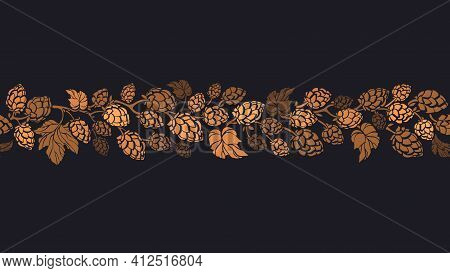 Hops Cone Seamless Pattern. Vector Cereal Illustration, Nature Texture Print On Black Background. He