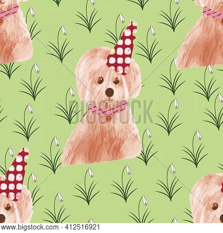 Lovely Little Dog Seamless Repeat Pattern Print