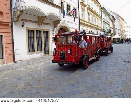 Bratislava, Slovakia - 10 Jun 2011: The Tourist Train On The Street In Bratislava, Slovakia