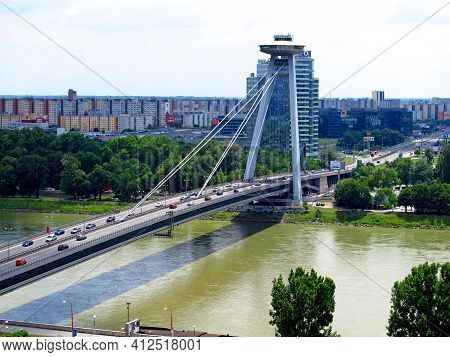 Bratislava, Slovakia - 10 Jun 2011: The Bridge On Danube River In Bratislava, Slovakia