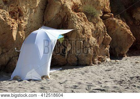 Sant Tomas, Menorca / Spain - June 25, 2016: A Tent In Binigaus Beach, Sant Tomas, Menorca, Balearic