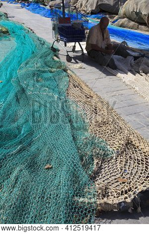 Mahon, Menorca / Spain - June 25, 2016: Nets At Mahon Harbour, Mahon, Menorca, Balearic Islands, Spa