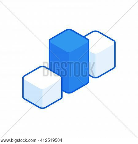 Infographic Columns Isometric Illustration. Diagrammatic Colored White And Blue Columns