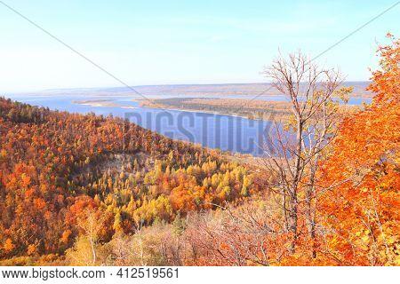 Calm fall season. Beautiful aerial view with Strelnaya mount and Volga river, Samarskaya Luka reserve, Zhiguli mountains, Russia