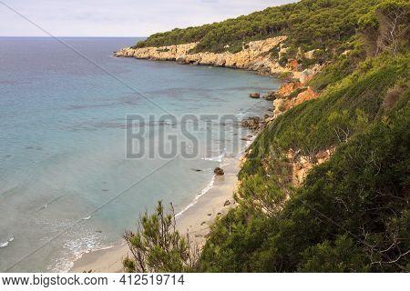 Sant Tomas, Menorca / Spain - June 25, 2016: Coastline Near Binigaus Beach, Sant Tomas, Menorca, Bal