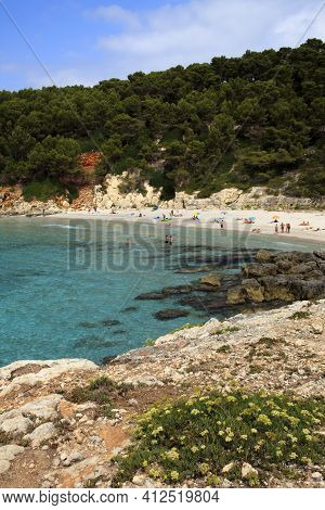 Es Migjorn Gran, Menorca / Spain - June 25, 2016: The Escorxada Beach And Bay, Es Migjorn Gran, Meno