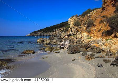 Sant Tomas, Menorca / Spain - June 25, 2016: The Binigaus Beach, Sant Tomas, Menorca, Balearic Islan