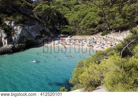 Macarelleta, Menorca / Spain - June 25, 2016: Cala Macarelleta Beach And Bay, Menorca, Balearic Isla