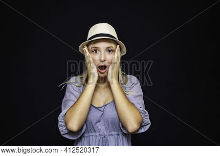 Beautiful Girl In Hat Surprise Delight Close-up Emotions