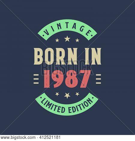 Vintage Born In 1987, Born In 1987 Retro Vintage Birthday Design