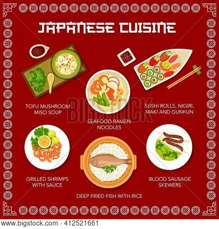 Food Of Japan, Japanese Menu Noodles Ramen And Sushi, Vector Restaurant Dishes And Meals. Japanese C