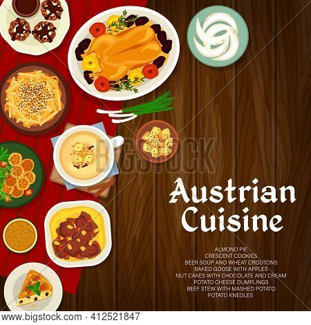 Austrian Cuisine Vector Almond Pie, Baked Goose With Apples And Nut Cakes With Cream. Crescent Cooki