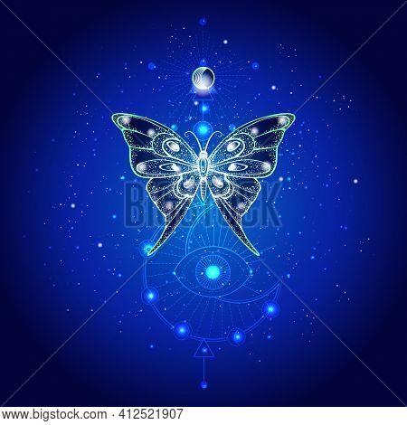 Vector Illustration With Hand Drawn Butterfly And Sacred Geometric Symbol Against Night Starry Sky.