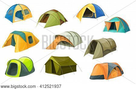 Cartoon Tents Vector Icons, Camping Equipment, Campsite Domes. Sport And Travel Touristic Marquees W