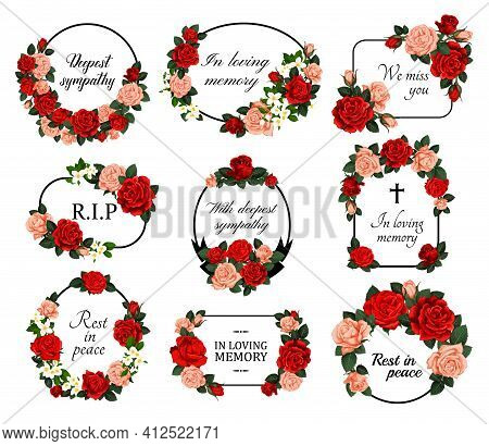 Funeral Vector Frames With Mourning Sketch Flowers, Sincere Condolence, Rest In Peace, Deepest Sympa