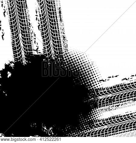 Tire Track Traces And Treads, Car Or Motocross Races Tyre Marks, Vector Halftone Grunge Mud. Motorcy