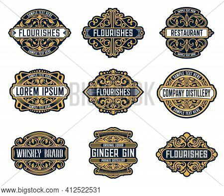 Alcohol Drink Brand, Beverage Or Company Retro Labels With Ornate And Flourish Embellishments. Whisk