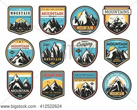 Mountain Tourism And Rock Climbing Vector Icons Set. Outdoor Explore, Extreme Sport And Adventure Ex