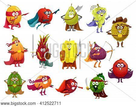 Funny Cartoon Fruits Of Superhero, Pirate, Cowboy And Knight Vector Characters. Papaya, Orange, Peac