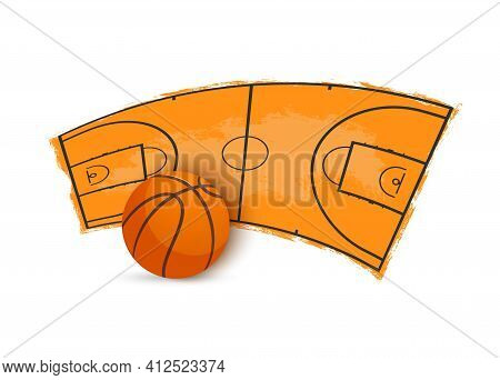 Basketball Ball And Playing Arena With Markup And Grunge Edges Vector Icon. Sports Competition Label