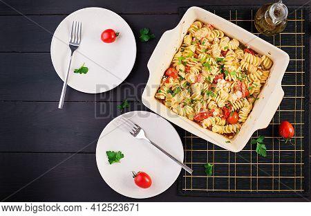 Fetapasta. Trending Feta Bake Pasta Recipe Made Of Cherry Tomatoes, Feta Cheese, Garlic And Herbs. T