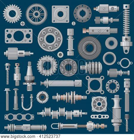 Machinery Parts Icons, Machine Engine Mechanisms And Gears, Vector Industry Equipment. Factory Mecha