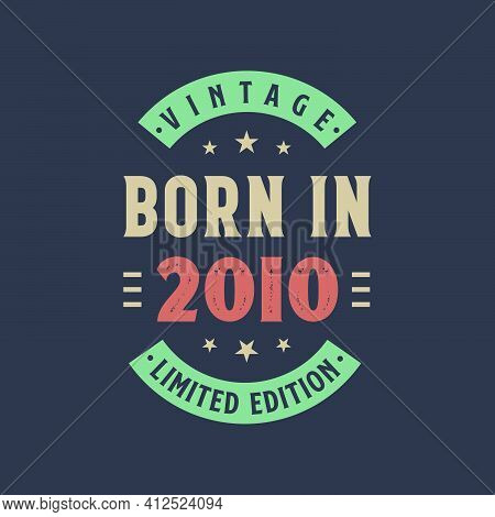 Vintage Born In 2010, Born In 2010 Retro Vintage Birthday Design