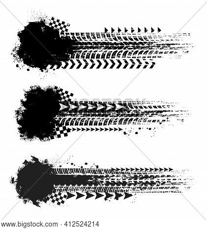 Offroad Sport, Tire Prints With Chequered Flag And Arrows, Car Tyres Track Grunge Vector Marks. Auto