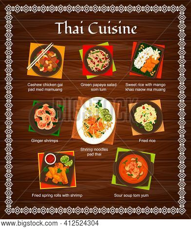 Thai Cuisine Vector Menu Green Papaya Salad Som Tum, Sweet Rice With Mango Khao Niaow Ma Muang. Ging