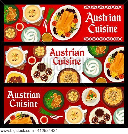 Austrian Cuisine Vector Nut Cakes With Chocolate And Cream, Almond Pie And Baked Goose With Apples.