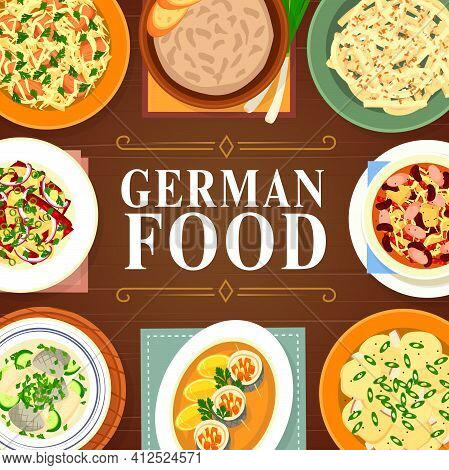 German Cuisine Food, Germany Sauerkraut, Sausages And Dinner Salads, Vector. German Cuisine Food Mea