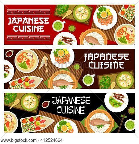Japanese Cuisine Food, Japan Menu Banners, Sushi And Ramen Noodles. Asian Cuisine Food, Restaurant M