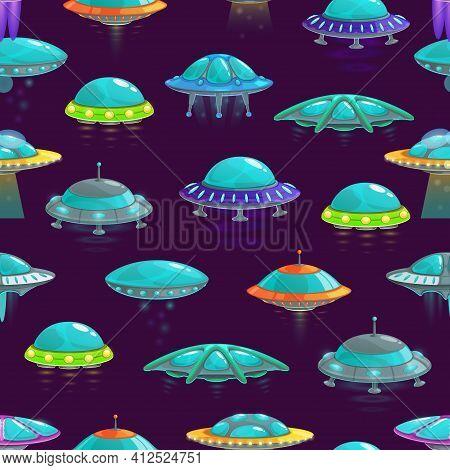 Ufo Vector Seamless Background With Cartoon Pattern Of Alien Spacecraft. Spaceships, Rockets, Uniden
