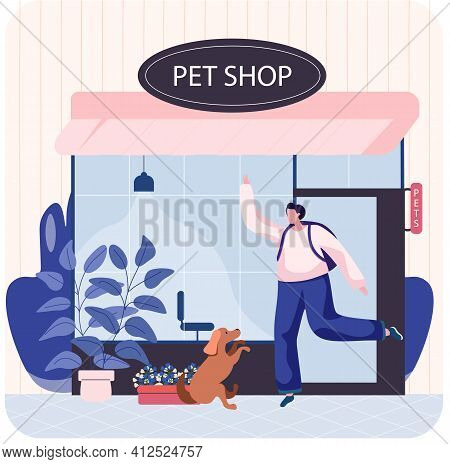 Pet Shop Concept, Awning With Windows Animal Accessories Store Indoors Flat Vector Illustration