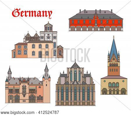 Germany Landmark Buildings And Cathedrals Of Aachen, German Travel Architecture, Vector. Germany St
