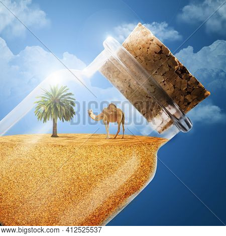 A Camel And A Palm Tree In A Bottle Of Sand. 3d Illustration The Desert In The Bottle. A Camel With