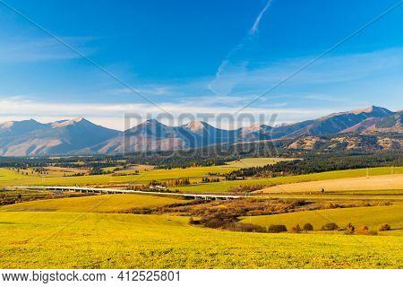 highway under high Tatras in Slovakia