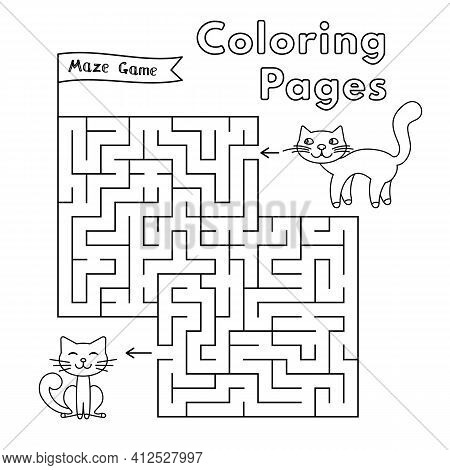 Mommy Cat And Little Kitten Maze Game. Vector Coloring Book Pages For Children