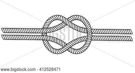 Double Sea Knot Of Rope Cable, Vector Double Rope Knot Macrame, The Concept Binding And Close Relati