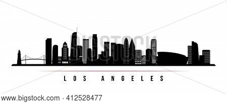 Los Angeles Skyline Horizontal Banner. Black And White Silhouette Of Los Angeles, California. Vector