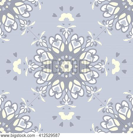 Seamless Pattern. Mandala With Hearts. Pastel Blue Jean Color, Pale Yellow And White . Pastel Colors