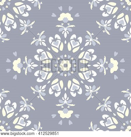 Seamless Pattern. Mandala With Hearts. Blue Jean Color, Pale Yellow And White. Pastel Colors. Vector