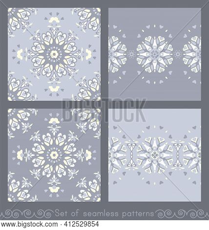 Set Of Seamless Patterns. Mandala With Hearts, Candles And Flowers. Blue Jean Color, Pale Yellow And