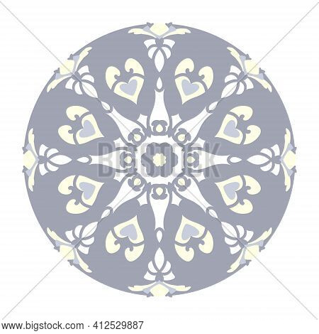 Mandala With Hearts And Candles. Pattern. Blue Jean Color, Pale Yellow And White. Pastel Colors. Tra