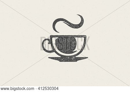 Silhouette Cup Hot Aromatic Drink With Whiff Of Steam As Coffee House Logo Hand Drawn Stamp Effect V
