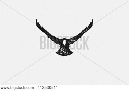 Black Silhouette Wild Eagle Soaring In Sky In Countryside Hand Drawn Stamp Effect Vector Illustratio