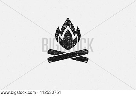 Silhouette Of Hot Campfire Burning On Logs On Campsite Hand Drawn Stamp Effect Vector Illustration